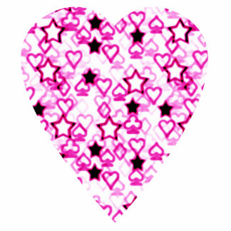Patterned Heart Design in Pink, Black and White. Acrylic Cut Out