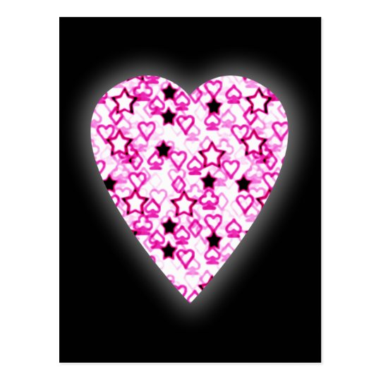 Patterned Heart Design in Pink, Black and White. Postcard