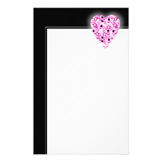 Patterned Heart Design in Pink, Black and White. Stationery Paper