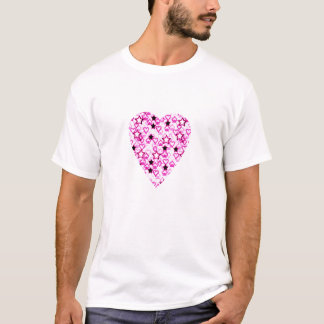 Patterned Heart Design in Pink, Black and White. T-Shirt