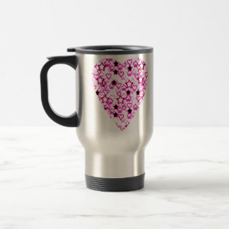 Patterned Heart Design in Pink, Black and White. Travel Mug