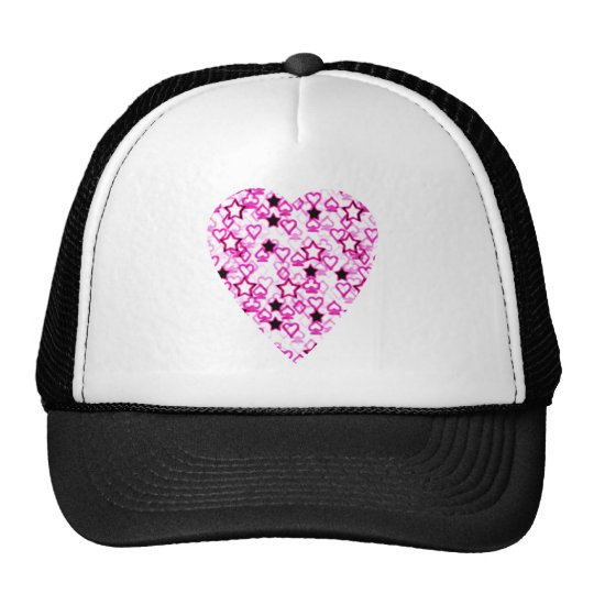 Patterned Heart Design in Pink, Black and White. Trucker Hat