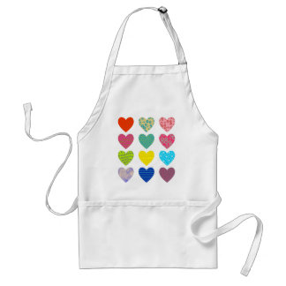 Patterned Hearts Adult Apron