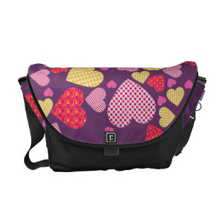 Patterned Hearts Collage Courier Bag