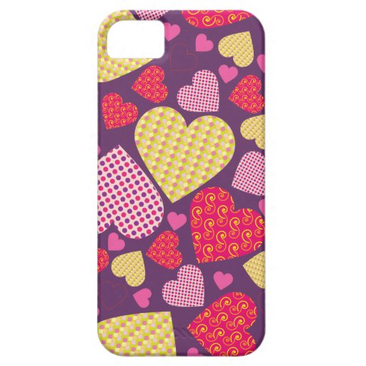 Patterned Hearts Collage iPhone 5 Case