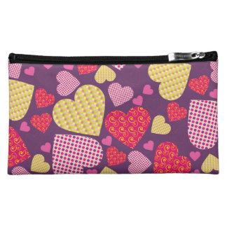 Patterned Hearts Collage Makeup Bag
