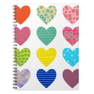 Patterned Hearts Note Book