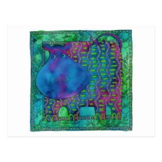 Patterned Hippo Postcard