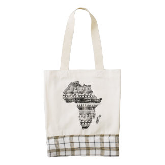 Patterned Map of Africa Zazzle HEART Tote Bag