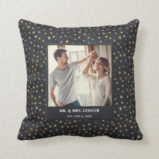 Patterned Mr. & Mrs. Photo Pillow