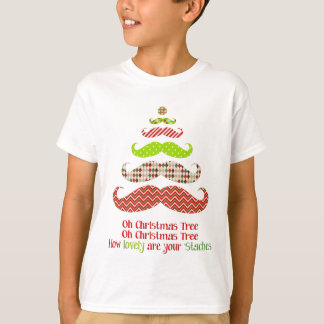 Patterned Mustache Christmas Tree Apparel T-Shirt