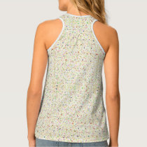 Patterned, mustard gold, navy blue tank