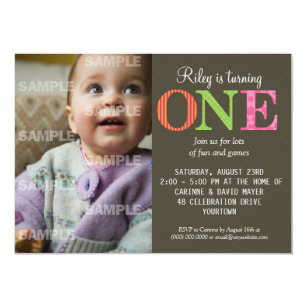 1 year old birthday party invitations announcements zazzle patterned one birthday party invitation stopboris Gallery
