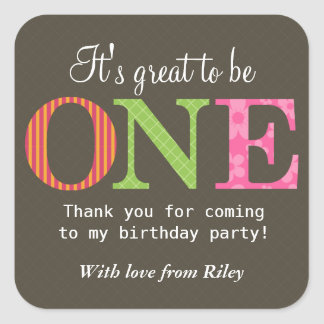 Patterned One Birthday Party Sticker