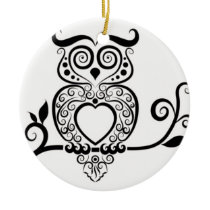 Patterned Owl Ceramic Ornament