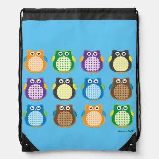 Patterned Owls Drawstring Backpack
