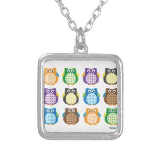 Patterned Owls Square Pendant Necklace