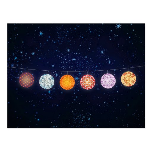 Patterned Paper Lanterns and Starry Sky Post Card