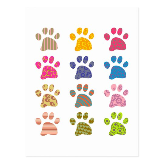 Patterned Paws Postcard