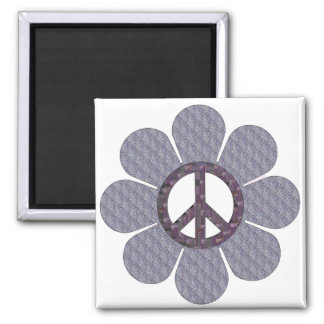 Patterned Peace Flower 2 Inch Square Magnet