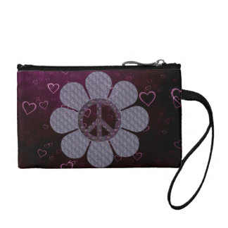 Patterned Peace Flower Coin Purse