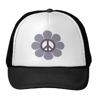 Patterned Peace Flower Mesh Hats