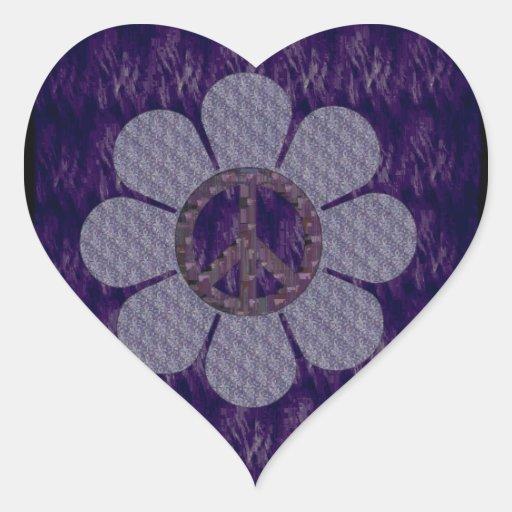 Patterned Peace Flower Heart Sticker