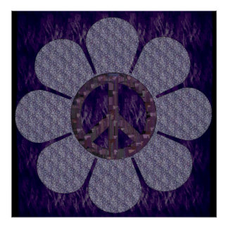 Patterned Peace Flower Poster
