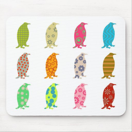 Patterned Penguins Mouse Pads