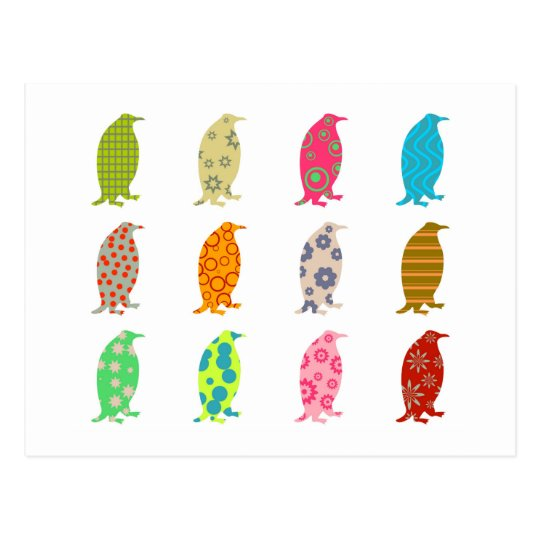 Patterned Penguins Postcard