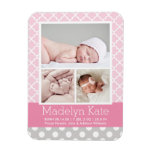 Patterned Photo Birth Announcement | Baby Girl Rectangular Photo Magnet