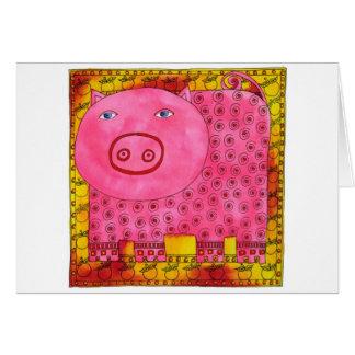 Patterned Pig Card