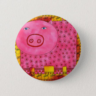 Patterned Pig Pinback Button