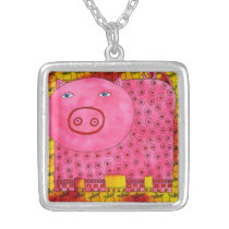 Patterned Pig Silver Plated Necklace