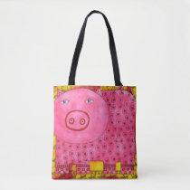 Patterned Pig Tote Bag