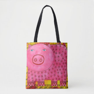 Patterned Pig Tote Bag