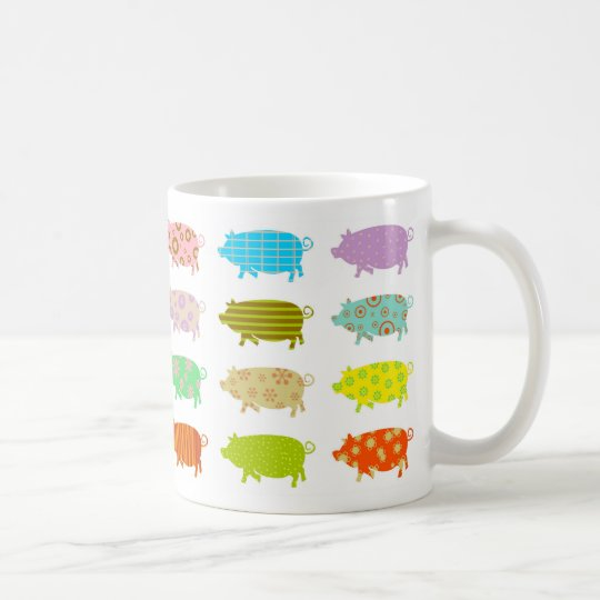 Patterned Pigs Coffee Mug