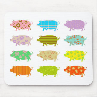 Patterned Pigs Mouse Pad