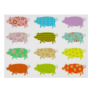 Patterned Pigs Poster