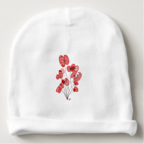 Patterned Poppies Baby Beanie