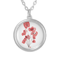 Patterned Poppies Silver Plated Necklace
