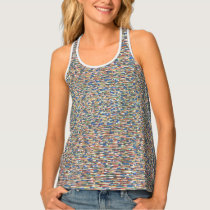 Patterned, red, blue, green, active-wear tank top
