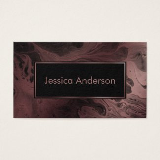 Patterned Rose Gold and Black Marbled Texture Business Cards