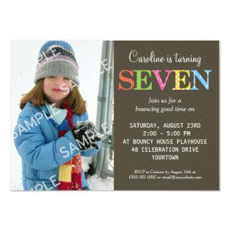 "Patterned Seven Birthday Party Invitation 4.5"" X 6.25"" Invitation Card"