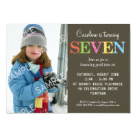 7 year old birthday invitations announcements zazzle patterned seven birthday party invitation stopboris Choice Image