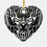 Patterned Skull.png Double-Sided Heart Ceramic Christmas Ornament