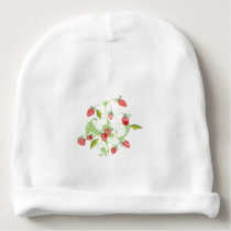 Patterned Strawberries Baby Beanie