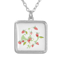 Patterned Strawberries Silver Plated Necklace