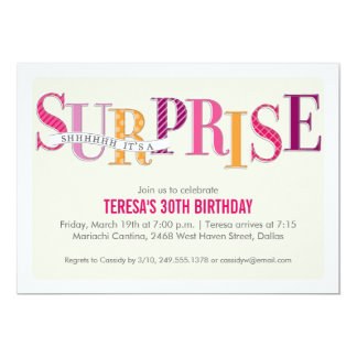 Patterned Surprise Party Invitation in Pink