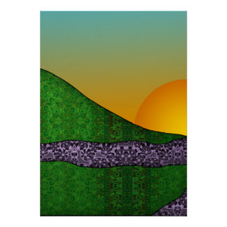 Patterned Triptych Mid Poster
